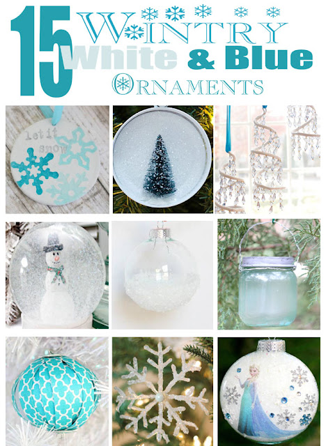 Handmade Christmas ornaments in blue and white