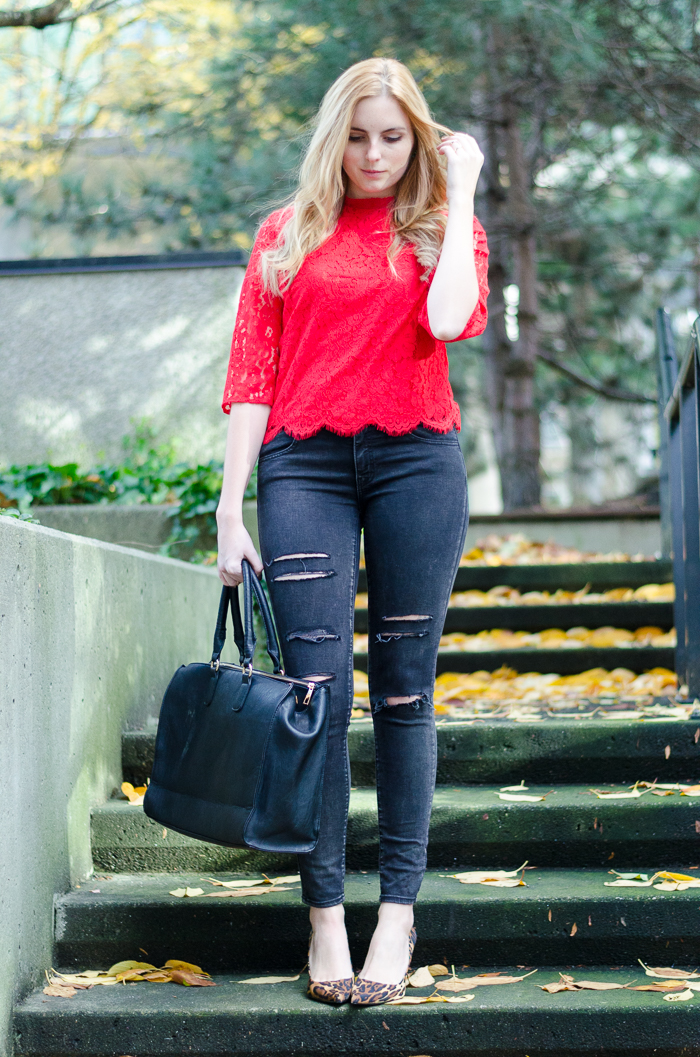 Tips to Styling Red Lace, Winter Outfits