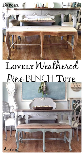 Lovely Weathered Pine Bench using #WeatherwoodStains on #fg2bLovely Weathered Pine Bench using #WeatherwoodStains on #fg2b