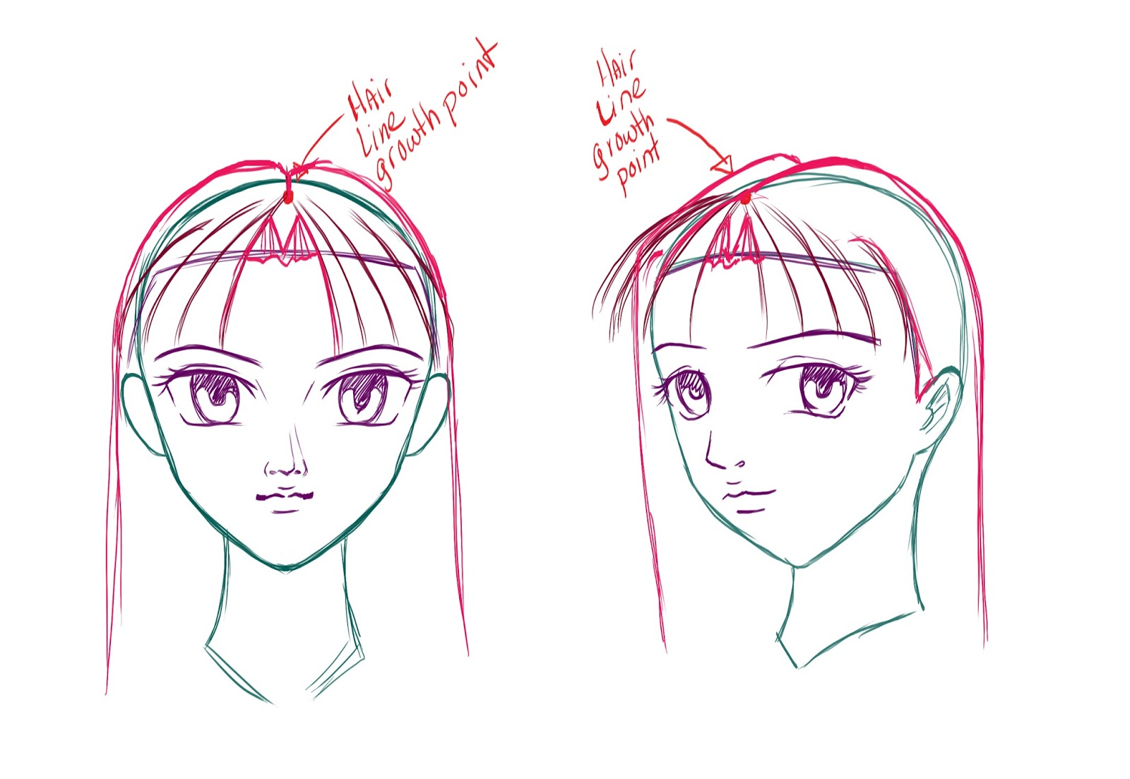 How to draw anime hair step 6