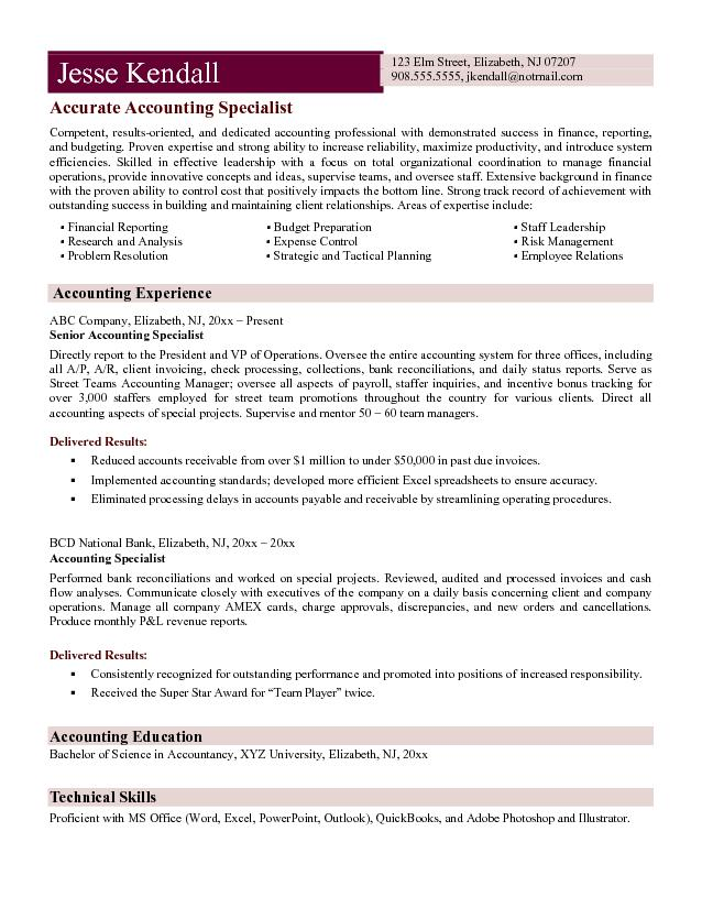 sample resume format of accountant cover letter consulting
