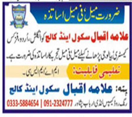Teacher Jobs In Allama Iqbal School And College Peshawar