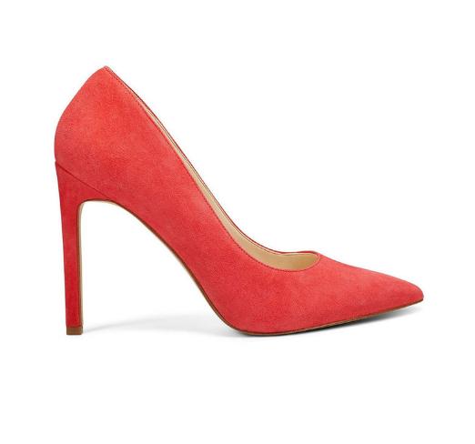 Pantofi dama rosii cu toc subtire de piele intoarsa cu varf ascutit NINE WEST