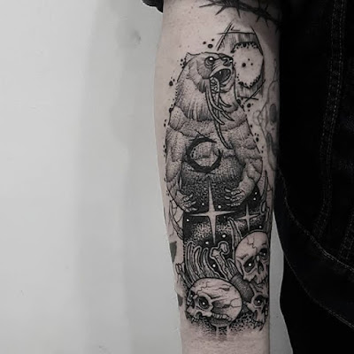 bear and skull tattoo