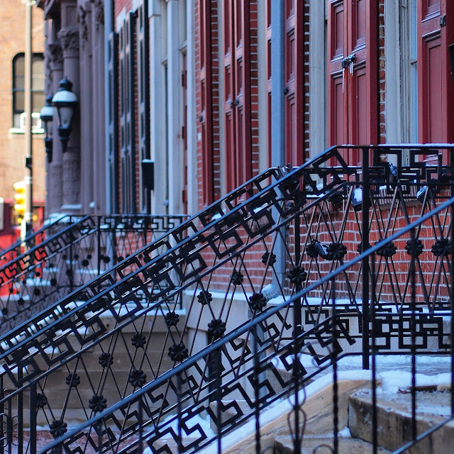 Wrought iron railings in Colonial Philadelphia in winter