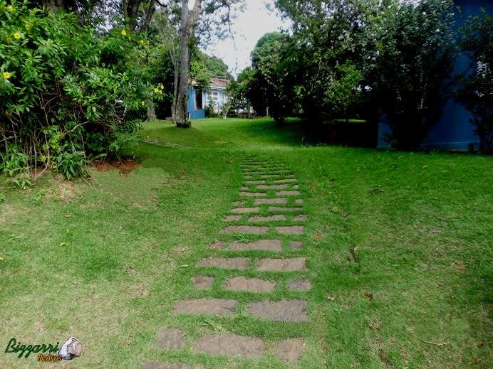 Caminho com pedra no jardim com pedra folheta assentada com junta entre as pedras para colocação da grama esmeralda.