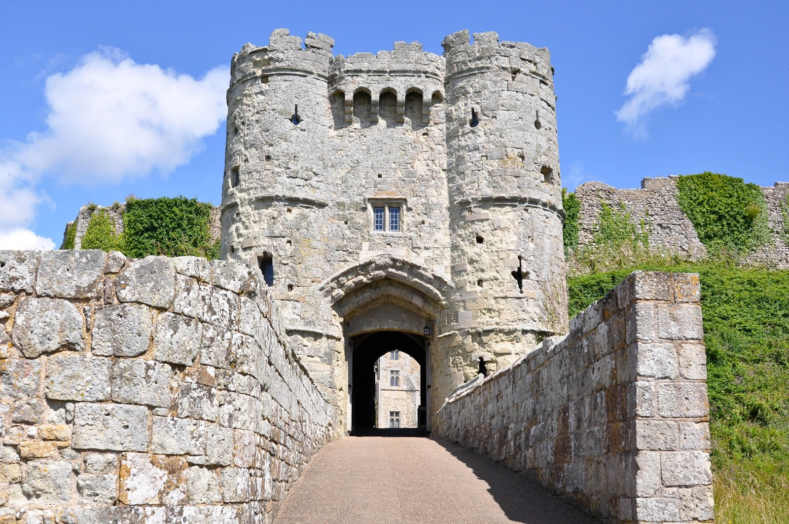 The entrance to the castle, Carisbrook Castle, Isle of Wight, UK