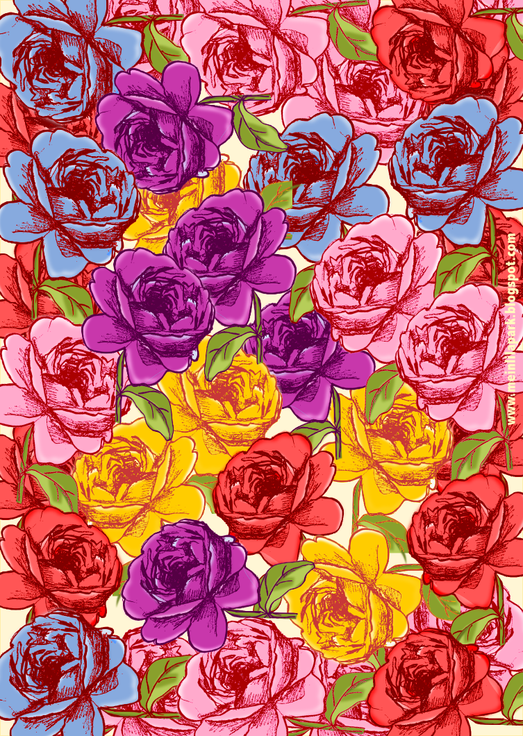 free printable rose wrapping paper (A4, faux vintage)