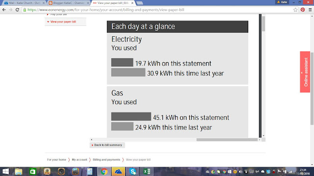 A statement of electricity and gas useage