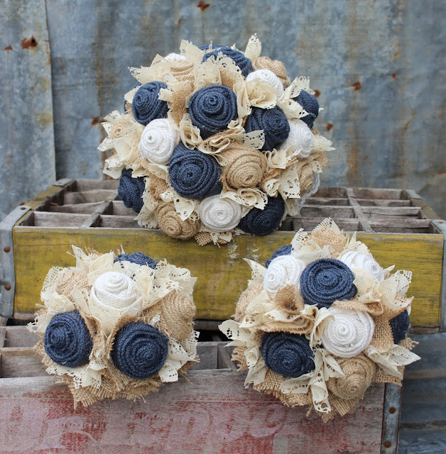 navy fabric wedding flowers