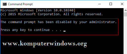 Mengatasi The command prompt has been disable by your ...
