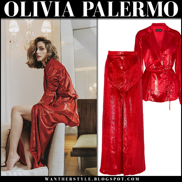 Olivia Palermo in red shiny velvet jacket and maxi skirt michael lo sordo magazine shoot april 2018