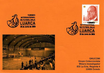 Tarjeta del matasellos del Torneo Internacional de Fútbol Sala celebrado en Luarca