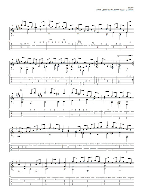 Guitarra Bouree from Cello Suite N3