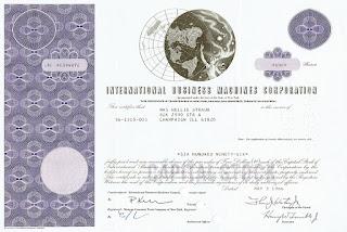 IBM stock certificate printed in violet