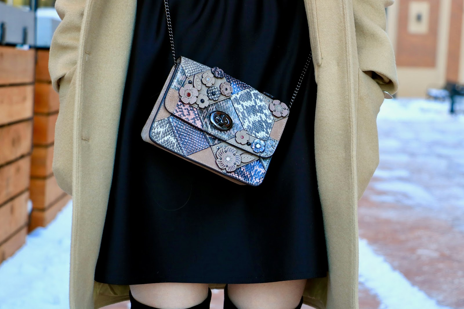 Nyc fashion blogger Kathleen Harper wearing a Selena Gomez Coach purse