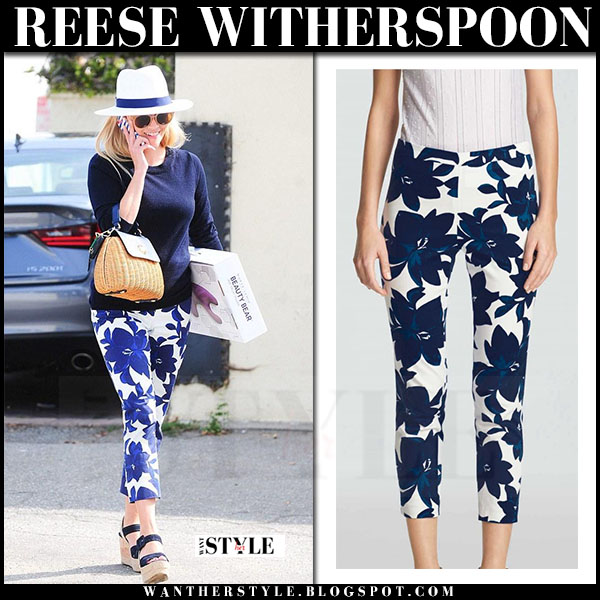 Reese Witherspoon in blue floral print pants draper james what she wore