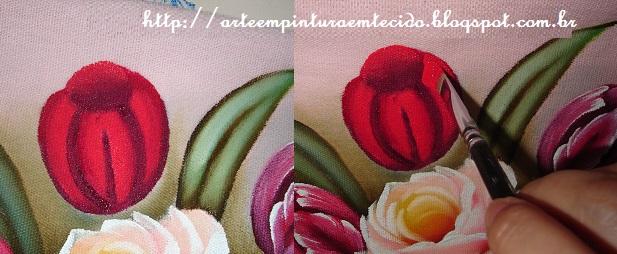 pintura em tecido passo a passo tulipa
