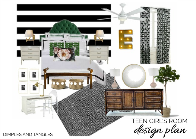 black and white striped wall, green headboard, bamboo dresser, bamboo nightstands, ikea desk, marquee letter
