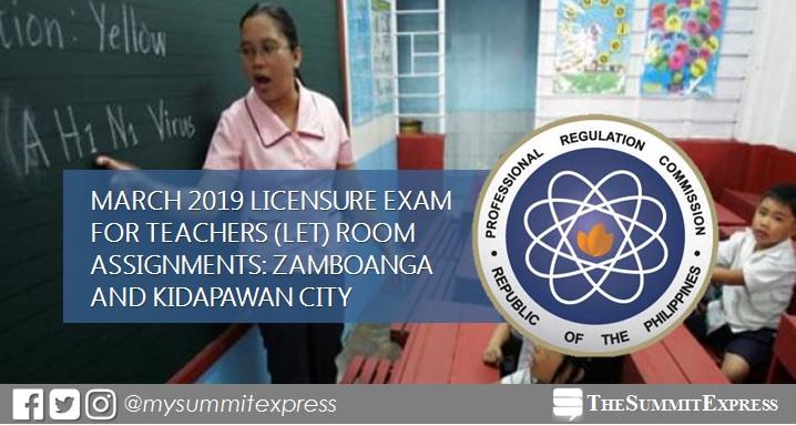 Room Assignments March 2019 LET: Zamboanga, Kidapawan
