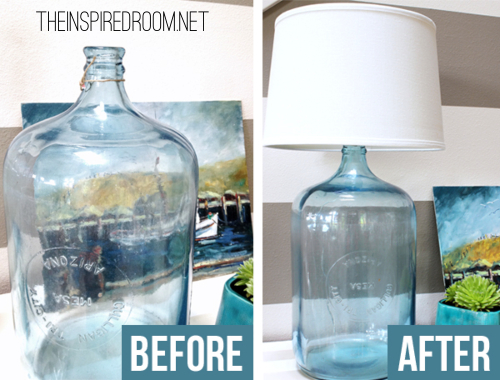 DIY Blue Glass Bottle Lamp