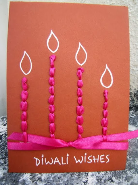 Diwali Homemade Card Idea String In Some Satin Ribbons Familyholiday Greeting Ideas