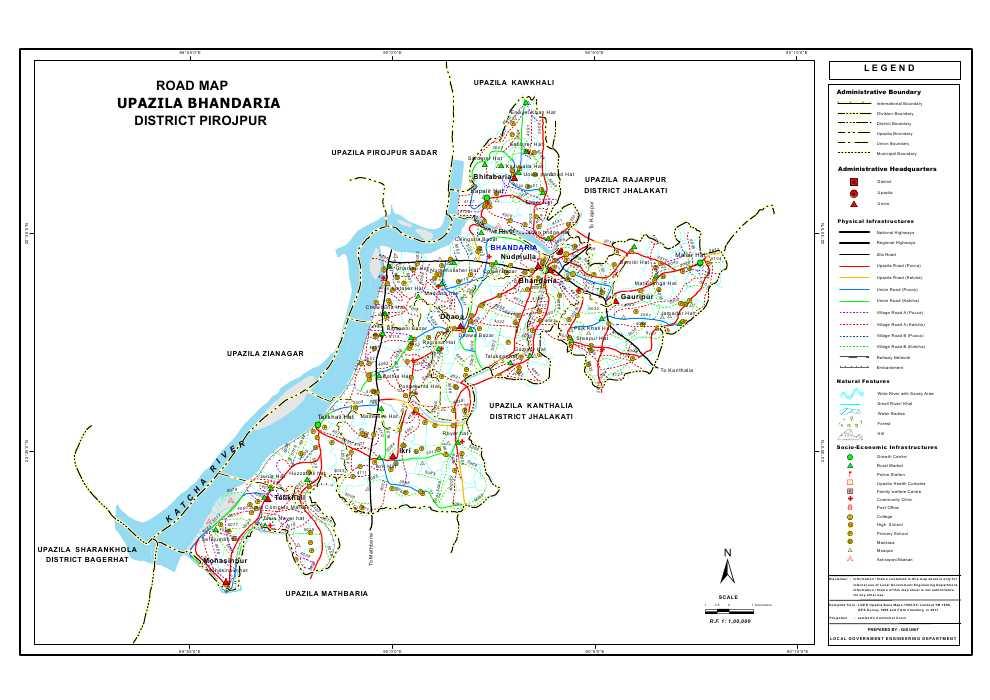 Bhandaria Upazila Road Map Pirojpur District Bangladesh