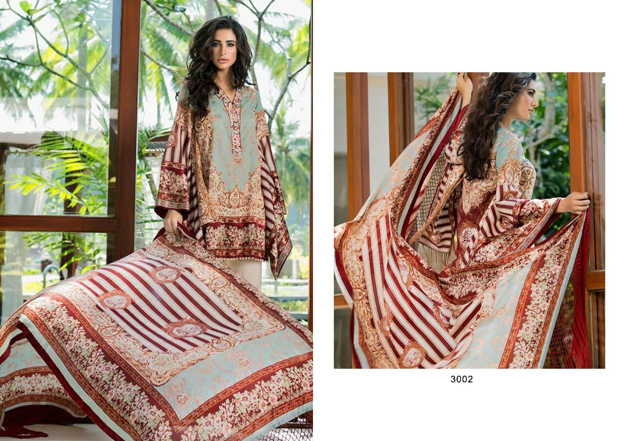 VINTAGE VOL – 3-Pakistani  Print With Pure Lawn with embroideryDesigner Dresss Material