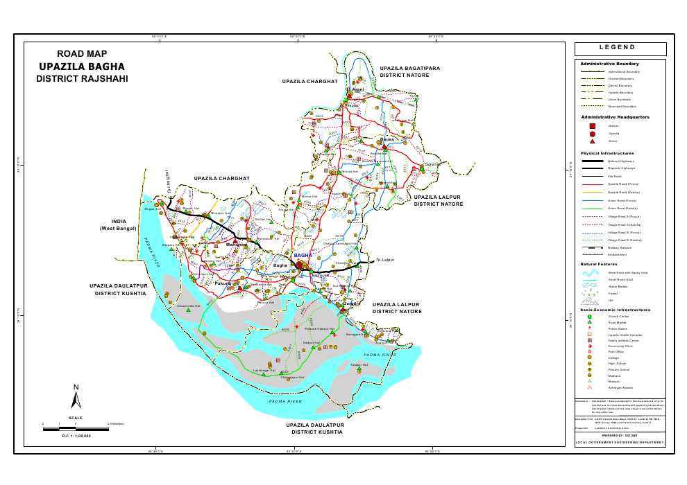 Bagha Upazila Road Map Rajshahi District Bangladesh