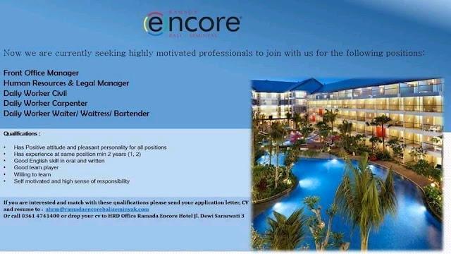 Lowongan kerja Hotel Ramada Encore Bali 2018