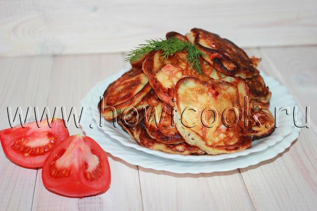 рецепт оладий с ветчиной, помидорами и болгарским перцем