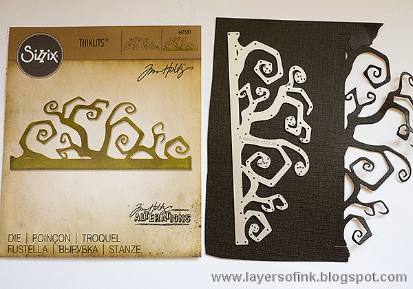 Layers of ink - Double Embossing Tutorial by Anna-Karin Halloween Gothic Gate Tag