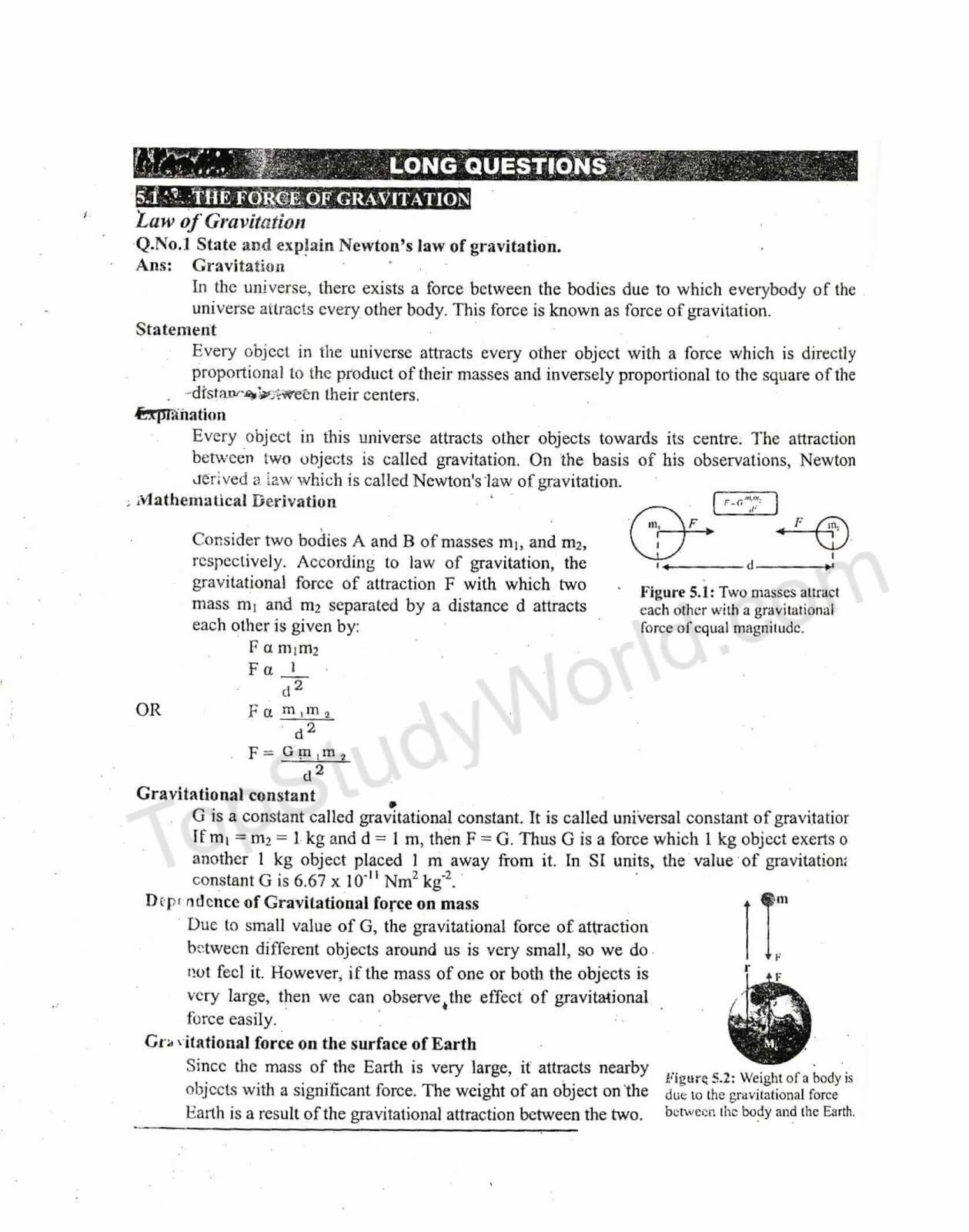 kips 9th class physics notes for ch 5 gravitational with pdf