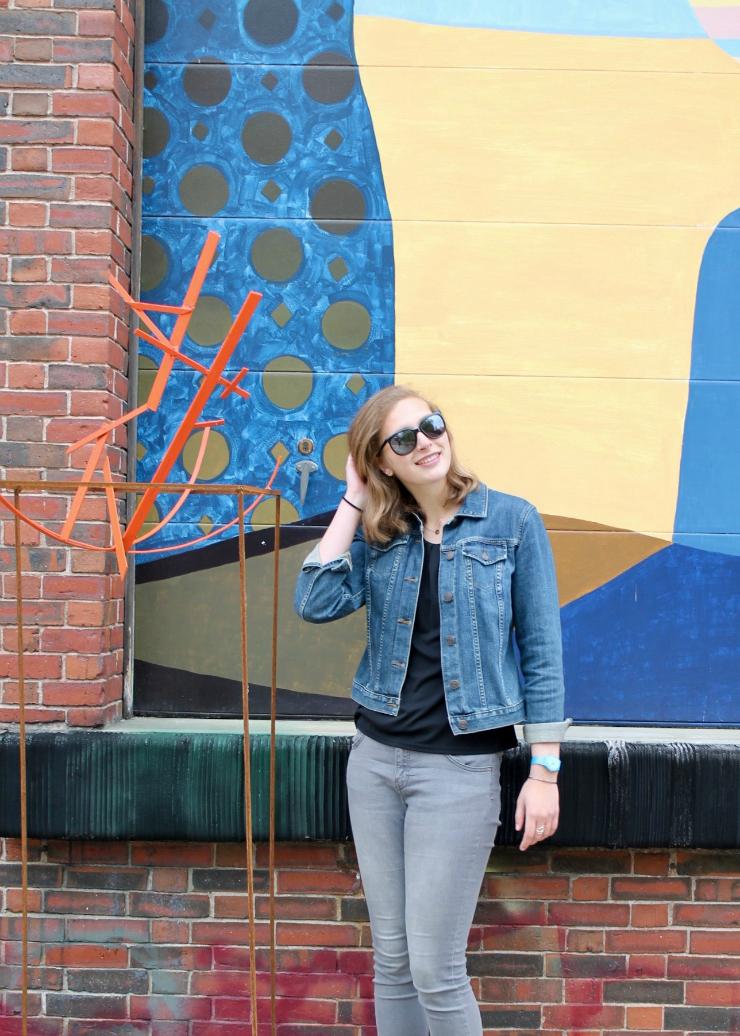 Denim jacket, gray jeans and vans high top sneakers near painted wall #ootd