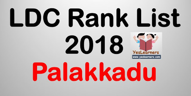 LDC Rank List 2018 - Palakkad