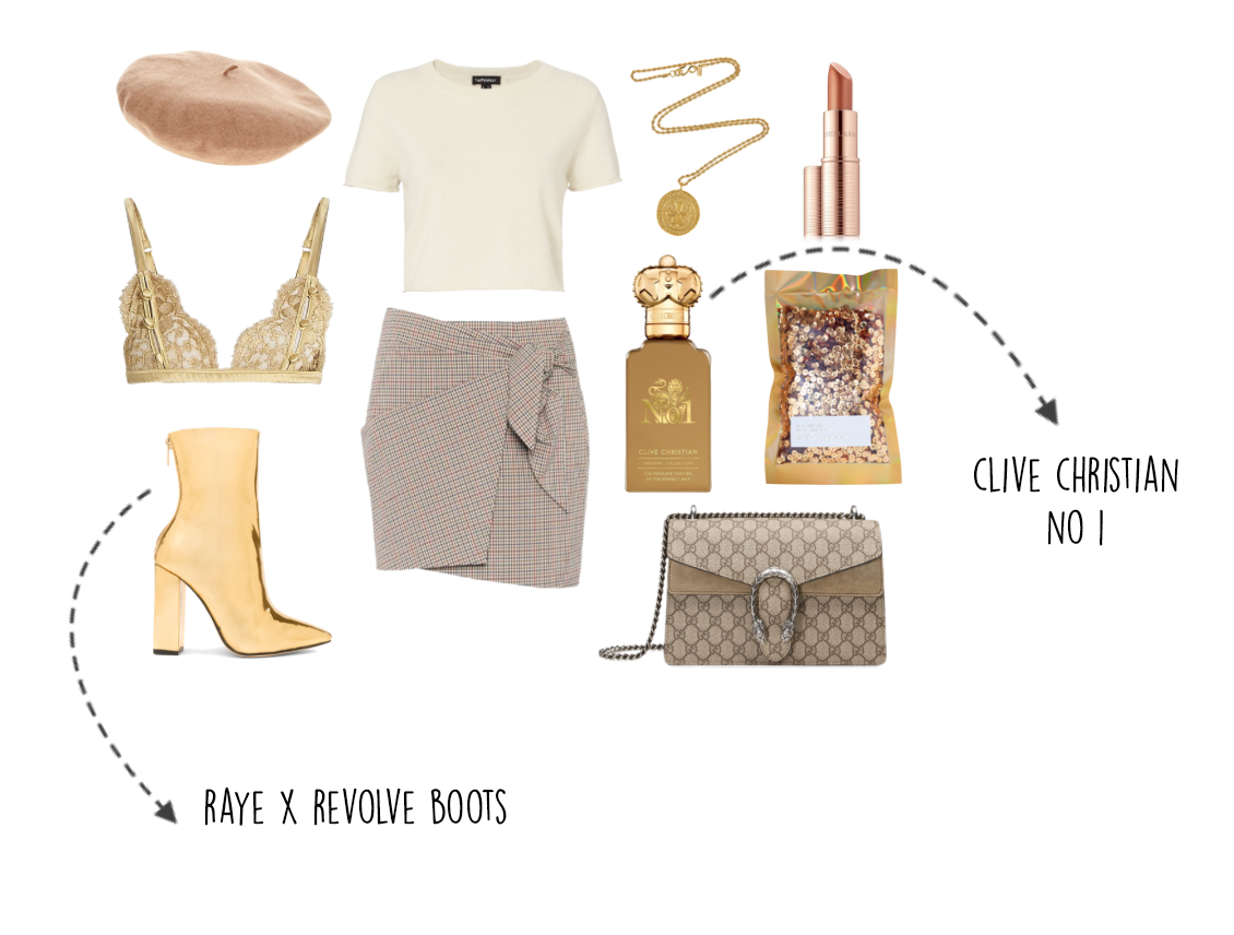 valentines outfit 2018, clive christian perfume, gold boots, polyvore outfit