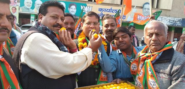 BJP leader Rajesh Nagar in Jind bye election celebrates with Brahmin leaders and activists