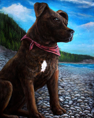 Maulie the Staffordshire Terrier Pet portrait by Danielle Trudeau