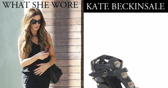 What She Wore Kate Beckinsale In Black Stud Wedge Sandals