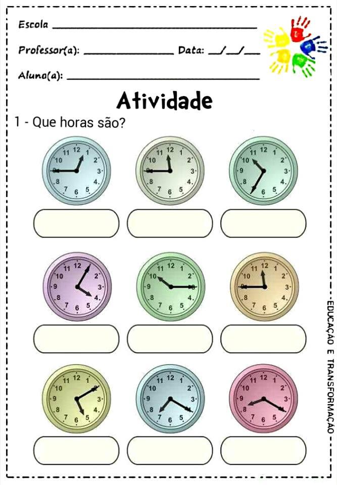 Populares Mundo infantil 2º ano: Que horas são?? Atividades com horas FM57