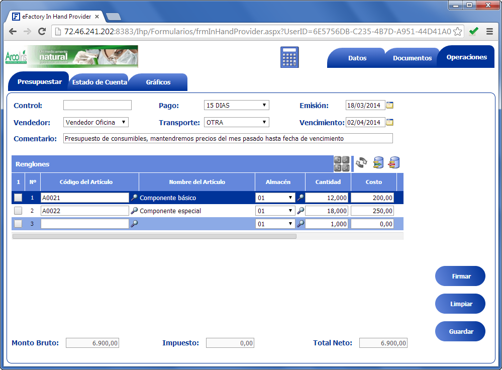 In Hand Provider: Carga de un nuevo presupuesto - Productos Web de eFactory para Móviles y Tabletas
