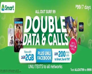 Smart AllOut99 – 7 Days Unli FB, Text to All Networks, 2GB Data + Call