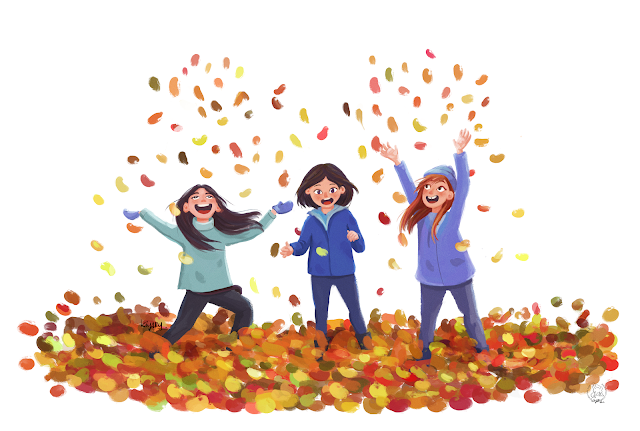 Autumn has arrived illustration of three happy girls