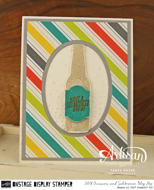 The Bubble Over stamp set and Bubbles and Fizz DSP from Stampin' Up! are so easy and fun to use! ~Tanya Boser as Display Stamper