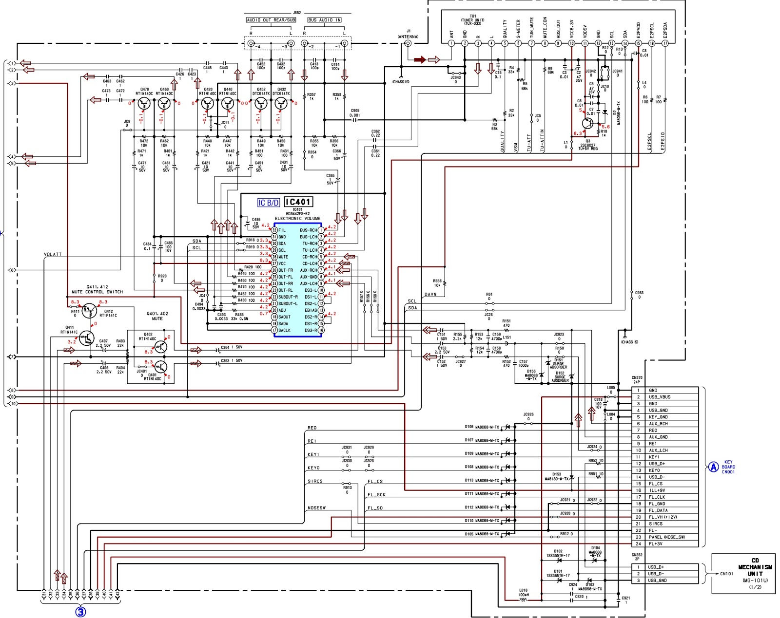 FIG 3 sony cdx gt41us fm am compact disc player schematic (circuit sony fm am compact disc player wiring diagram at gsmportal.co