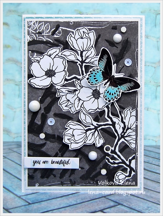Белые открытки для скрапбукинга, чайку