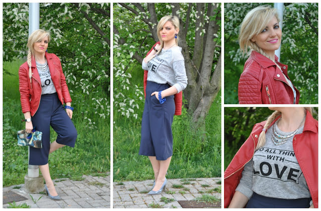 outfit pantaloni culotte kiabi come abbinare i pantaloni culotte felpa kiabi outfit giacca di pelle rossa come abbinare la giacca di pelle rossa red biker jacket how to wear rd biker jacket culotte pants recap outfit aprile 2016 outfit primaverili casual cosa indossare in primavera cosa indossare ad aprile outfit ufficio aprile outfit tempo libero aprile mariafelicia magno fashion blogger fashion blogger italiane fashion blogger milano blogger italiane blog di moda ragazze bionde blog di moda italiani colorblock by felym fashion bloggers italy italian fashion bloggers influencer italiane italian influencer april outfit what to wear in april spring outfit spring casual outfit