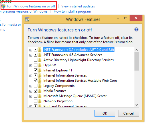 Windows Turn features on or off to fix iis http error 404.3 not found feature or mime map is not enabled
