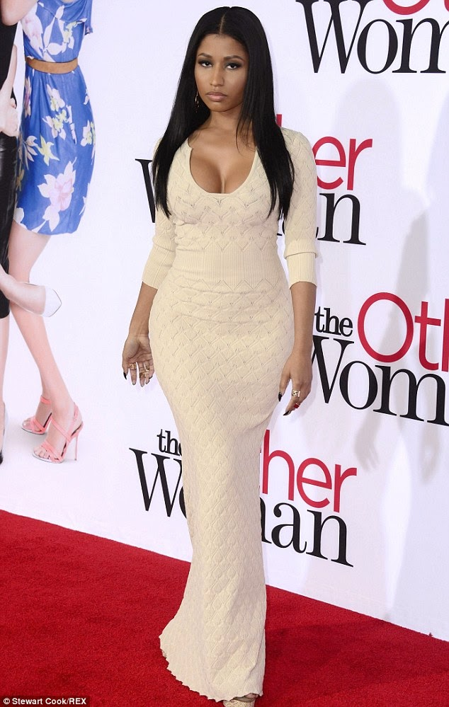 Nicki Minaj showed off her entire stunning and curvaceous frame on Monday night at the premiere of The Other Woman in Los Angeles, wearing a very low cut dress