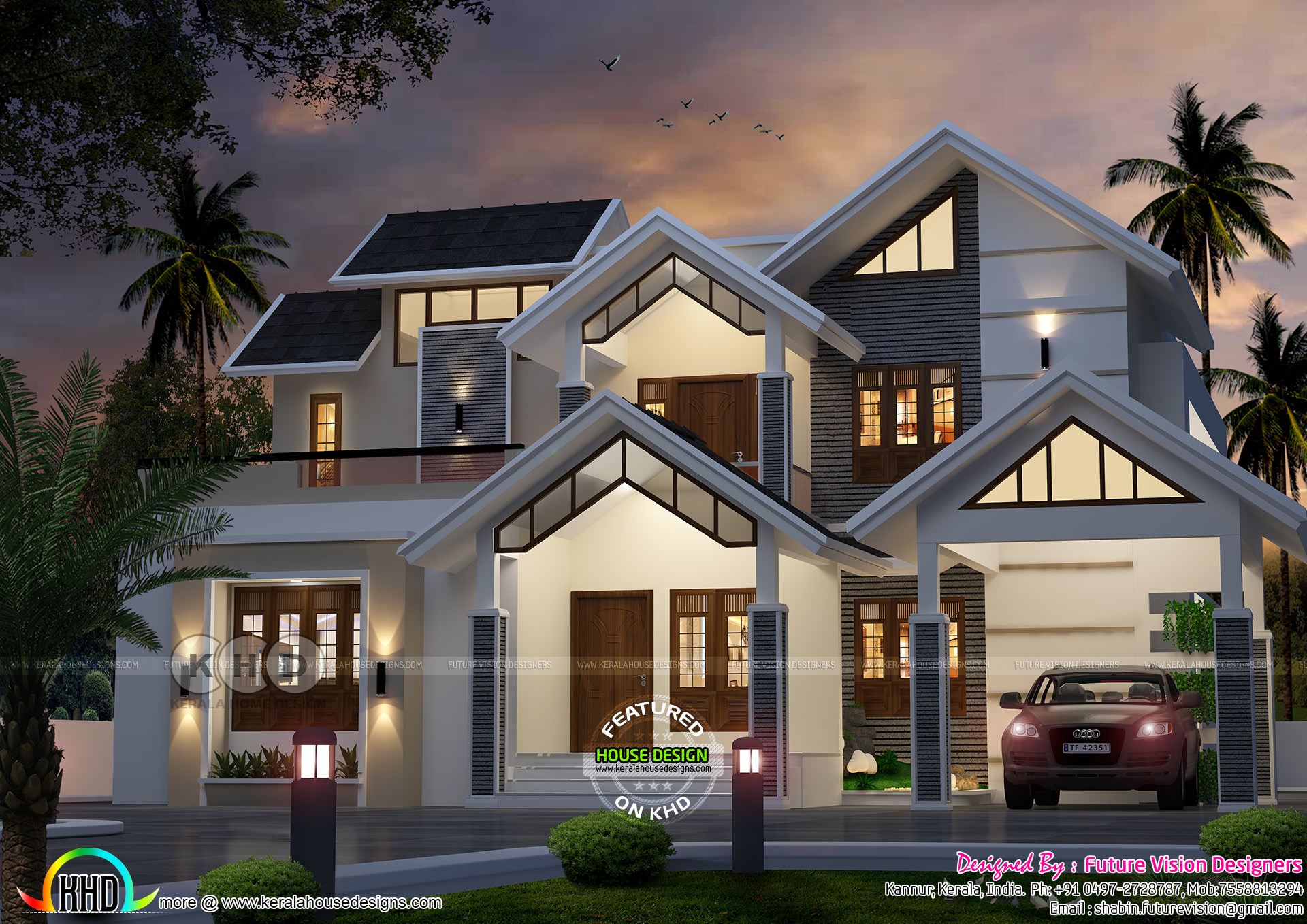 Sloping roof style modern 2855 sq ft house plan